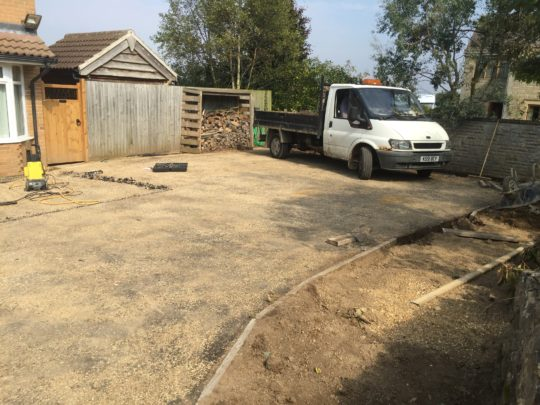 Dig Our of Borders and Drainage for Resin Install