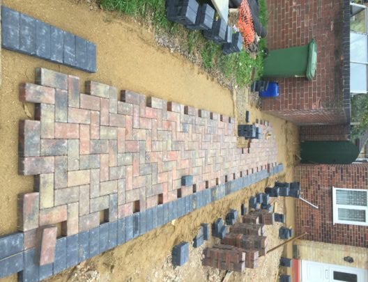 Block Paved Pathway Being Installed