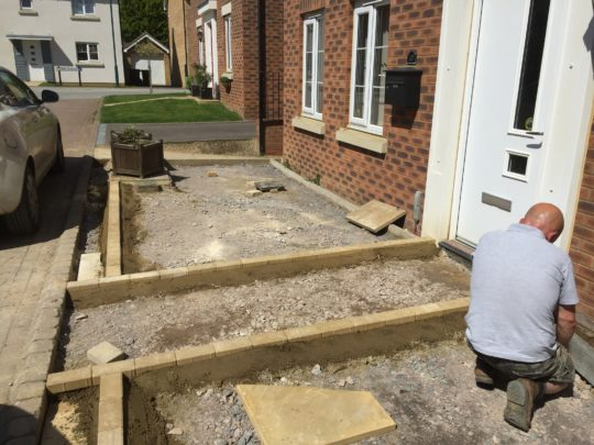 Edging Blocks Being Installed