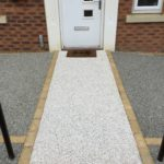 Block Edgings to Create Pathway in Resin