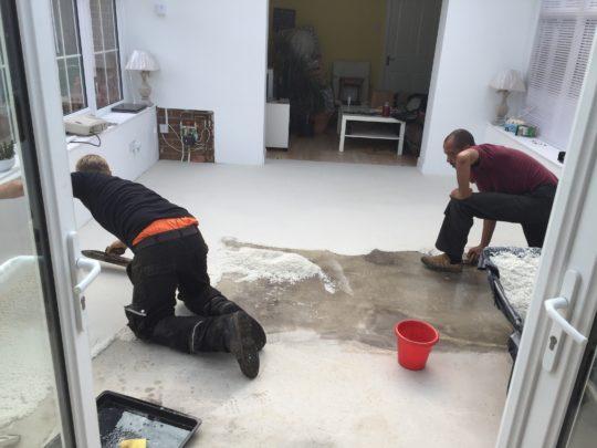 Internal Resin Floor Being Installed