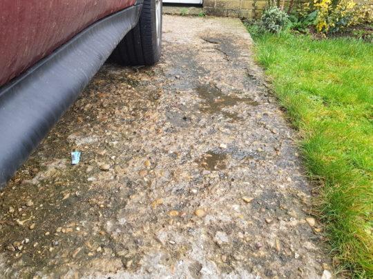 Old concrete driveway in Stilton