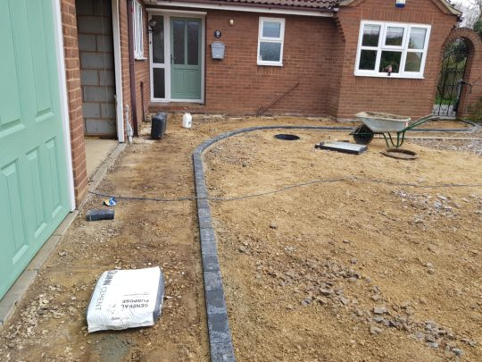 Edging Blocks Being installed in Langtoft
