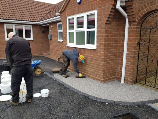 Resin Pathway Being Troweled in Langtoft Near Bourne