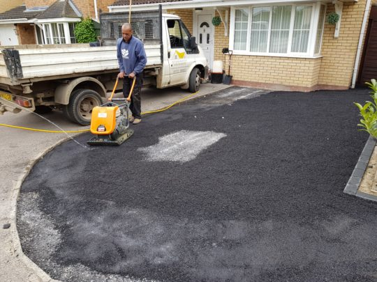 Bitumen Base being installed for Resin