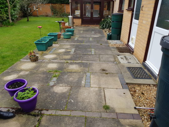 Old Slabbed Patio in Orton Wistow