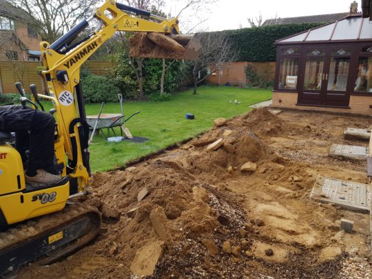 Excavating Patio Area in Orton Wistow