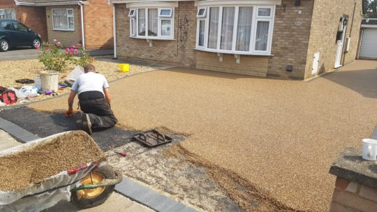 Resin Drive Being Installed in Gunthorpe