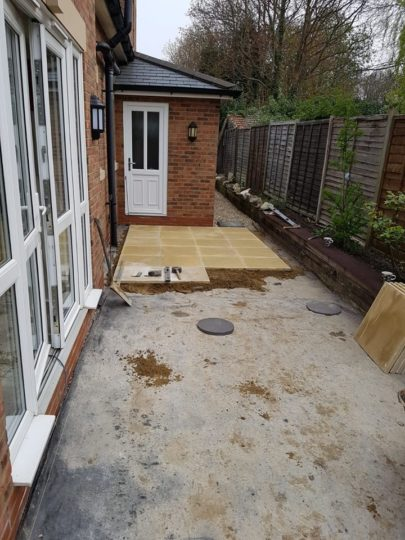 Slabbed Patio being installed in Peterborough