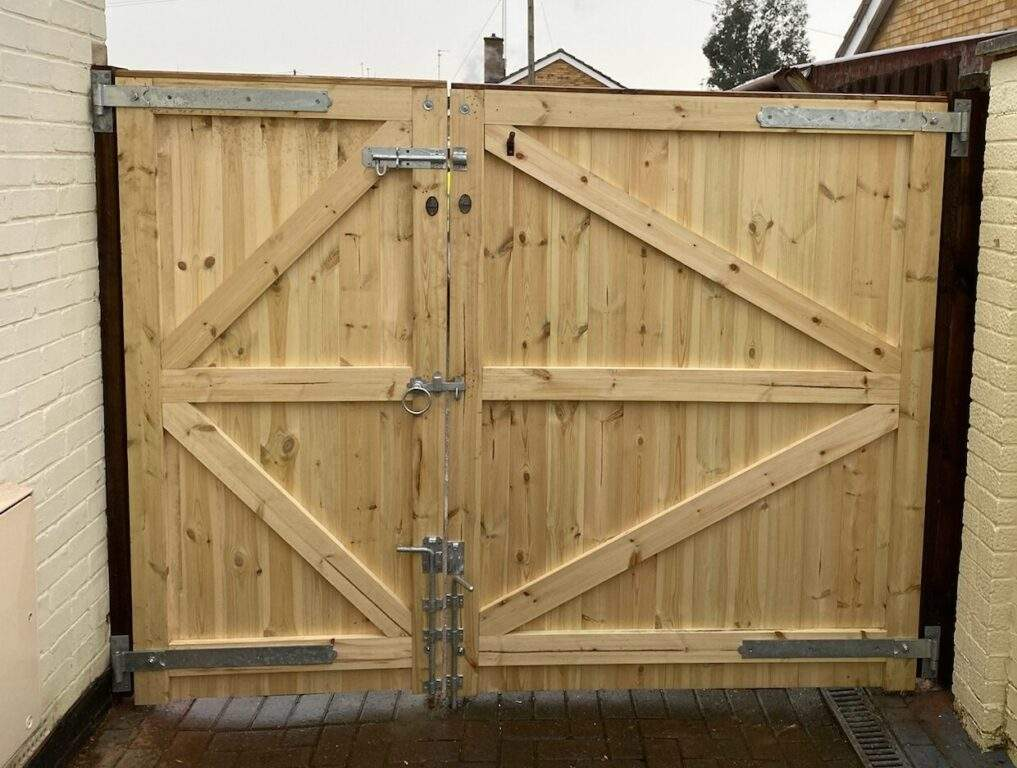 Bespoke Wooden Driveway Gate installed in Peterborough