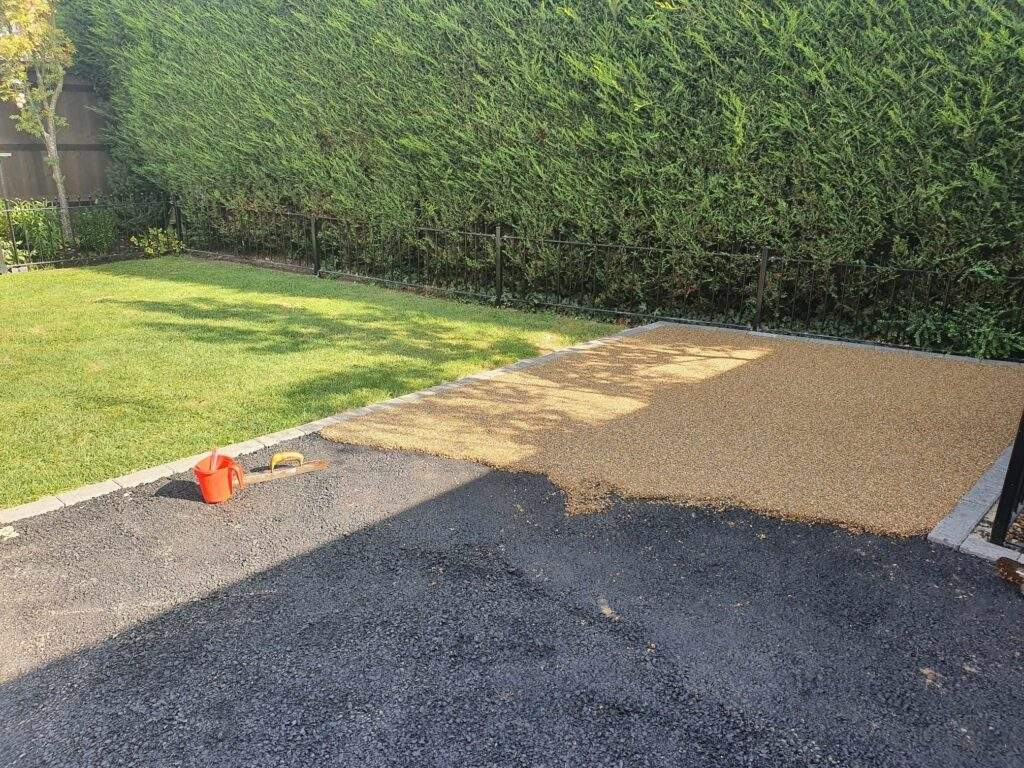 A Resin Bound Patio Being Laid in Eye Peterborough