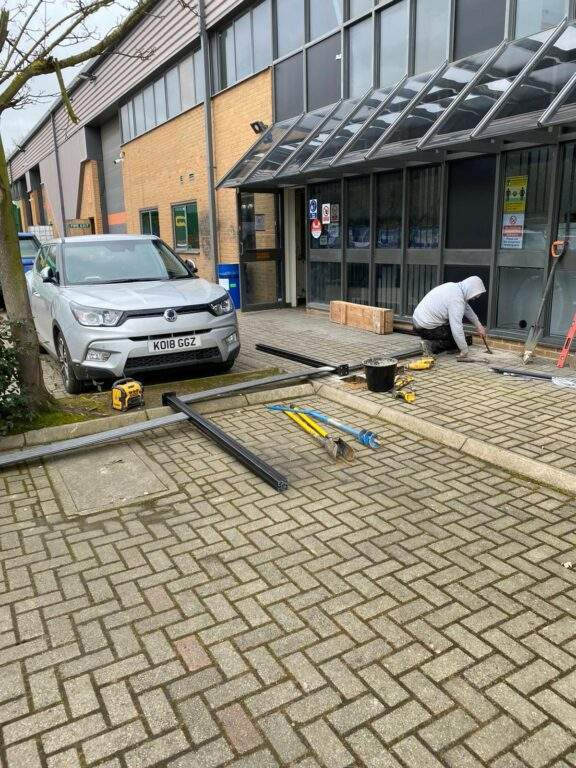 Composite fencing being installed in Peterborough