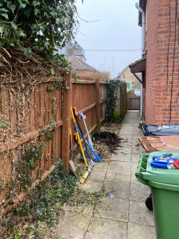 Old fencing being taken down in Peterborough