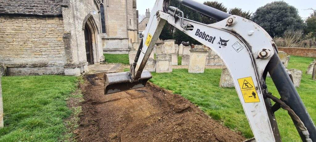 Pathway Being Excavated in Northborough, Peterborough