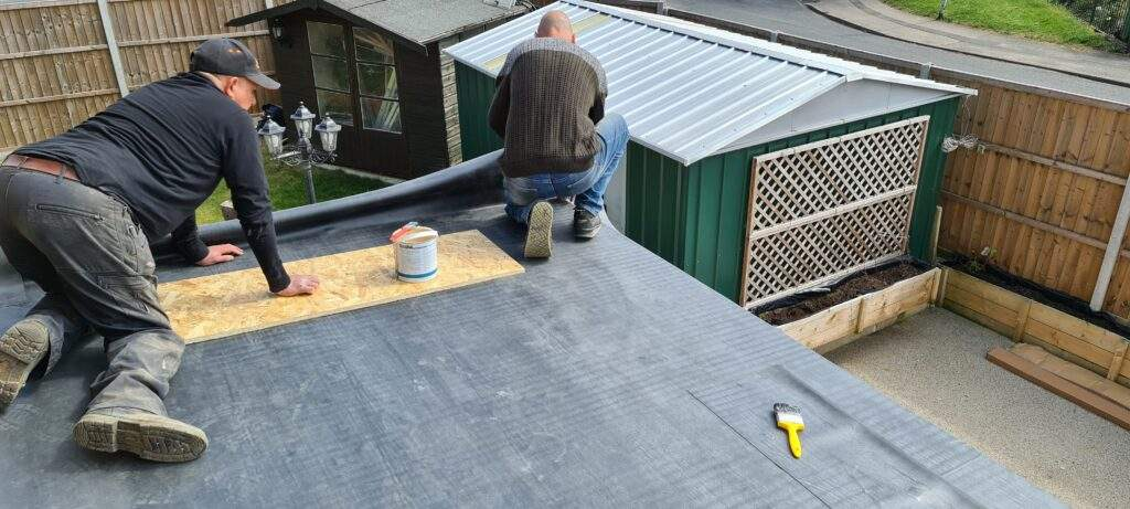 Rubber Flat Roof being installed in Peterborough