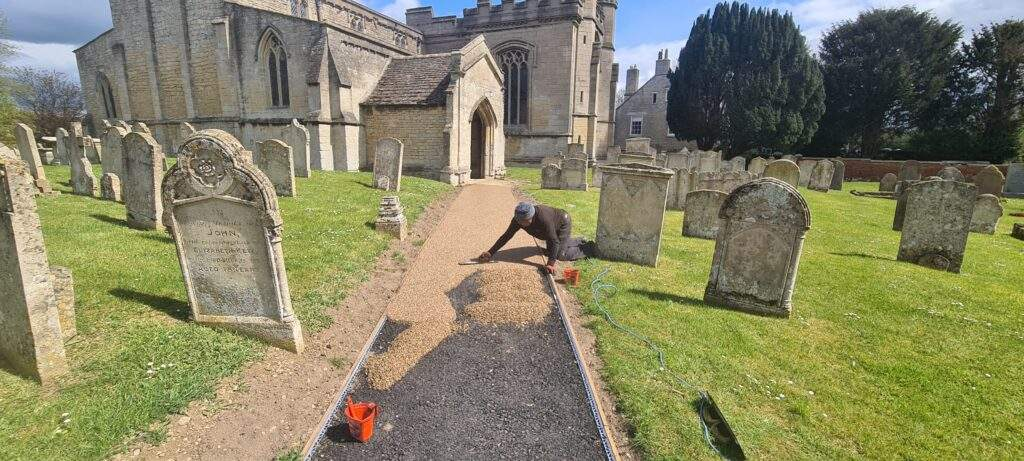 Resin Pathway being installed for Northborough Church