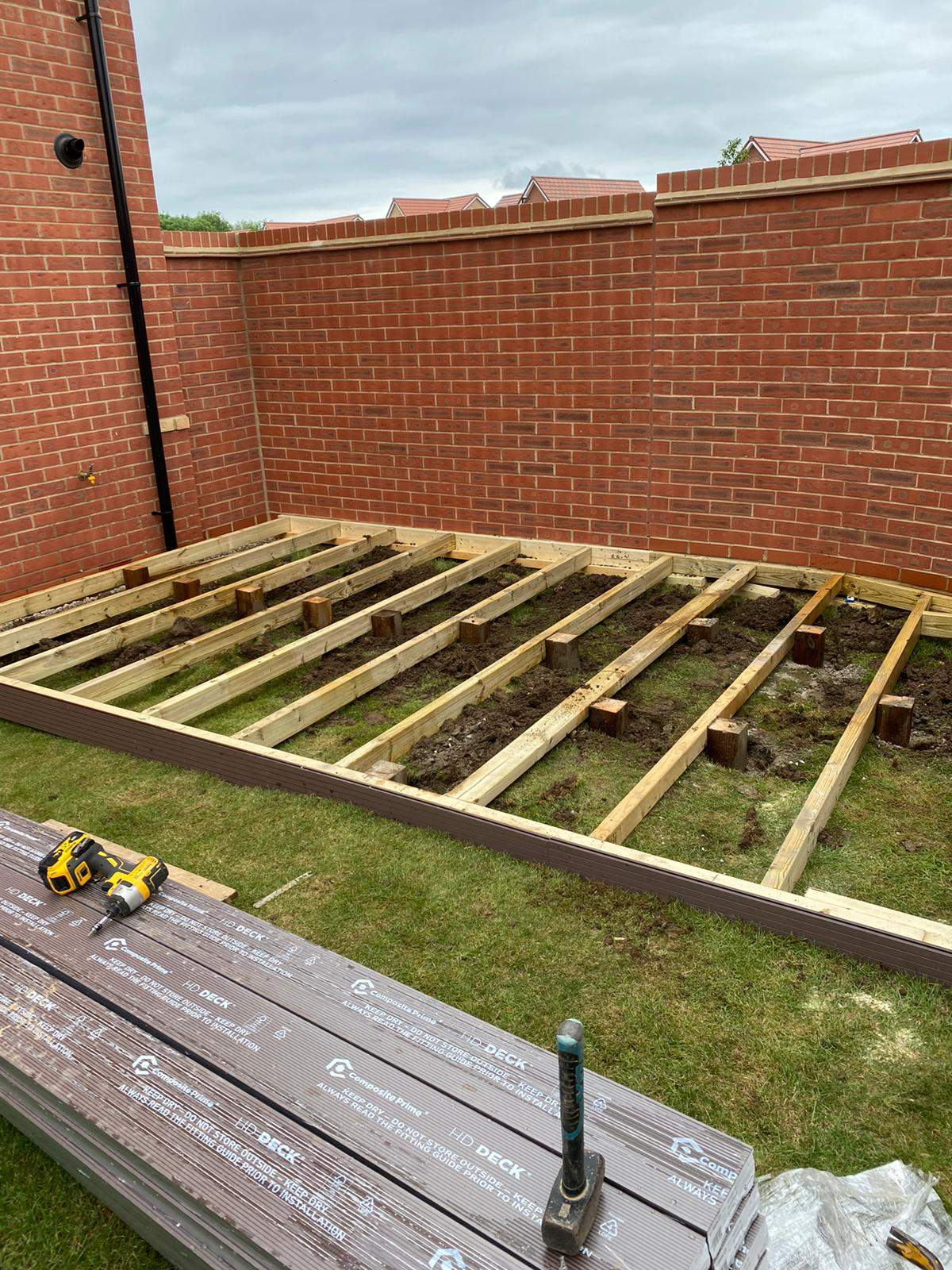Decking frame installed in Peterborough for Composite Decking